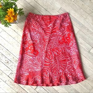 Sweet genuine silk red and pink A-line skirt